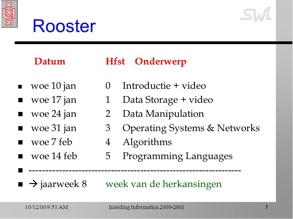 10/12/00 9:51 AMInleiding Informatica 2000-20015 Rooster DatumHfst Onderwerp n woe 10 jan0 Introductie + video n woe 17 jan 1 Data Storage + video n woe 24 jan 2 Data Manipulation n woe 31 jan 3 Operating Systems & Networks n woe 7 feb 4 Algorithms n woe 14 feb 5 Programming Languages n ----------------------------------------------------------------- n  jaarweek 8week van de herkansingen