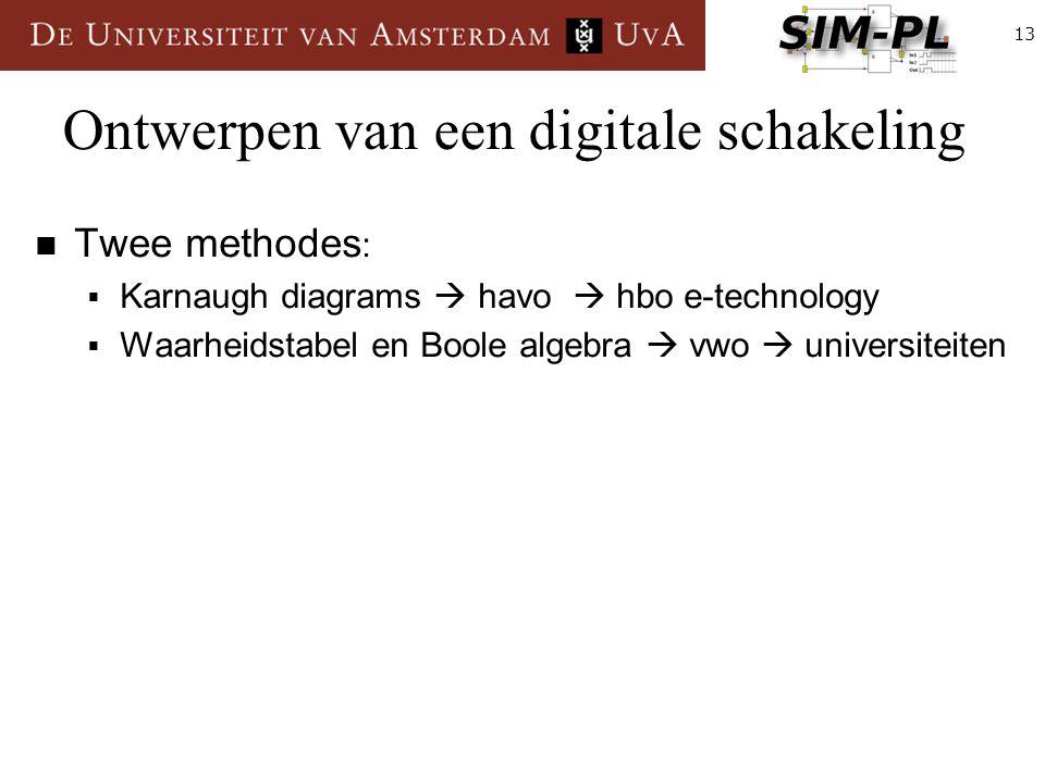 13 Ontwerpen van een digitale schakeling Twee methodes :  Karnaugh diagrams  havo  hbo e-technology  Waarheidstabel en Boole algebra  vwo  universiteiten