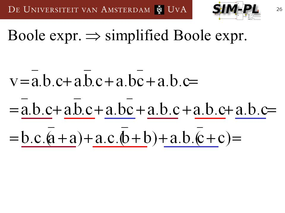 26 Boole expr.  simplified Boole expr.