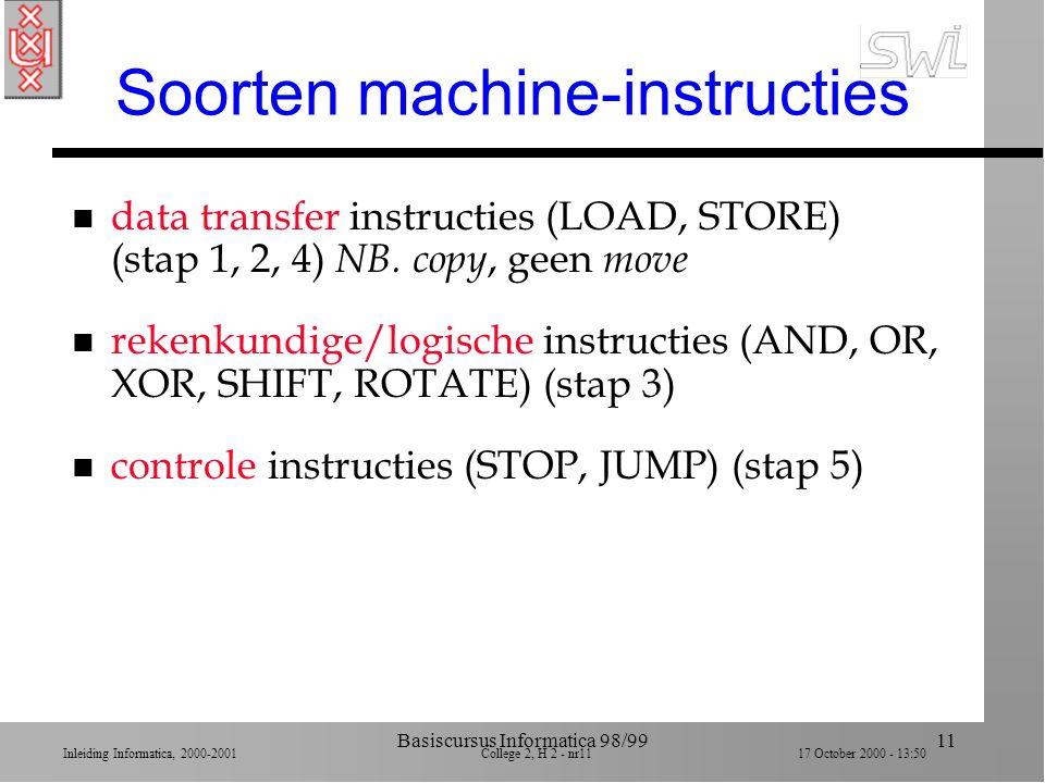 Inleiding Informatica, 2000-2001 College 2, H 2 - nr10 17 October 2000 - 13:50 Basiscursus Informatica 98/9910 Bereken: x + y = z n Stap 1. Haal waard