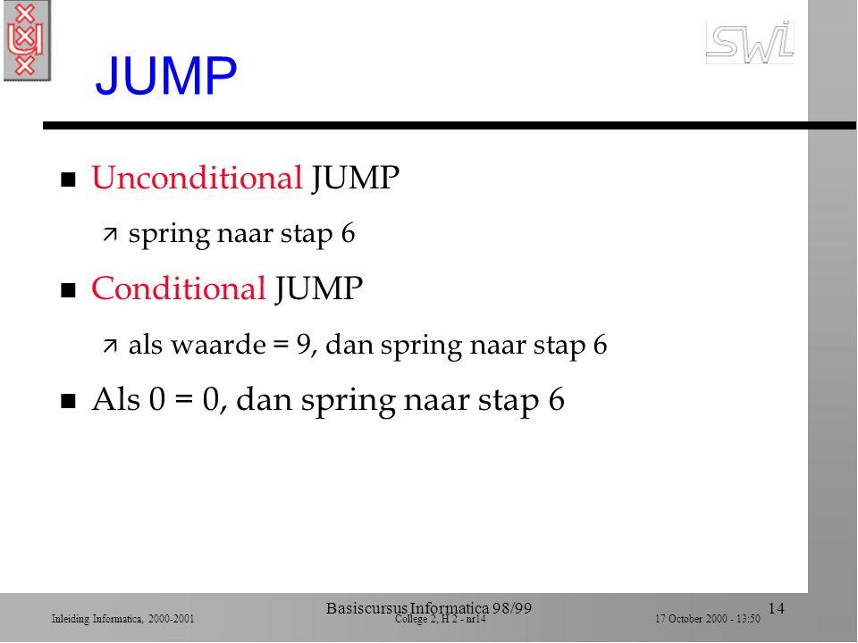 Inleiding Informatica, 2000-2001 College 2, H 2 - nr13 17 October 2000 - 13:50 Basiscursus Informatica 98/9913 Voorbeeld JUMP n Stap 1 LOAD register 1