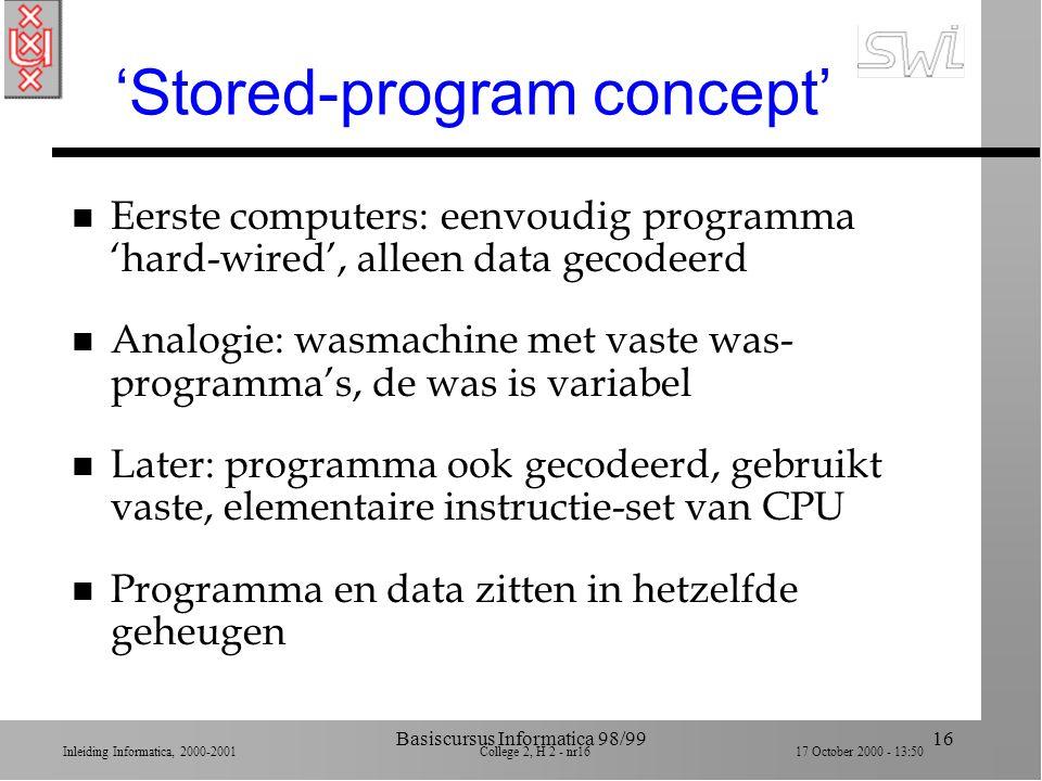Inleiding Informatica, 2000-2001 College 2, H 2 - nr15 17 October 2000 - 13:50 Basiscursus Informatica 98/9915 Overzicht college 3 n 2.1 Central proce