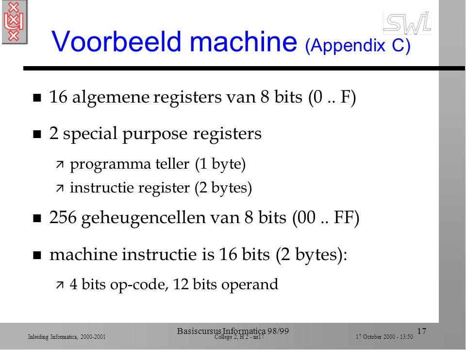 Inleiding Informatica, 2000-2001 College 2, H 2 - nr16 17 October 2000 - 13:50 Basiscursus Informatica 98/9916 'Stored-program concept' n Eerste compu