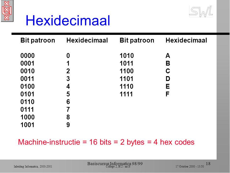 Inleiding Informatica, 2000-2001 College 2, H 2 - nr17 17 October 2000 - 13:50 Basiscursus Informatica 98/9917 Voorbeeld machine (Appendix C) n 16 algemene registers van 8 bits (0..