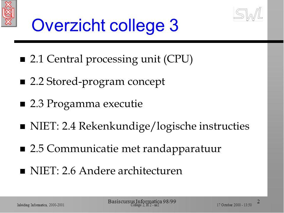 Inleiding Informatica, 2000-2001 College 2, H 2 - nr1 17 October 2000 - 13:50 Basiscursus Informatica 98/991 SWI Inleiding Informatica Brookshear hoof