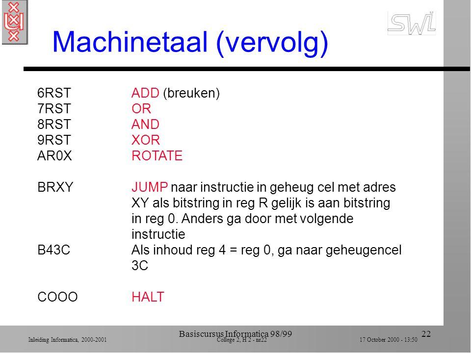 Inleiding Informatica, 2000-2001 College 2, H 2 - nr21 17 October 2000 - 13:50 Basiscursus Informatica 98/9921 Voorbeeld machinetaal 1RXYLOAD reg R me