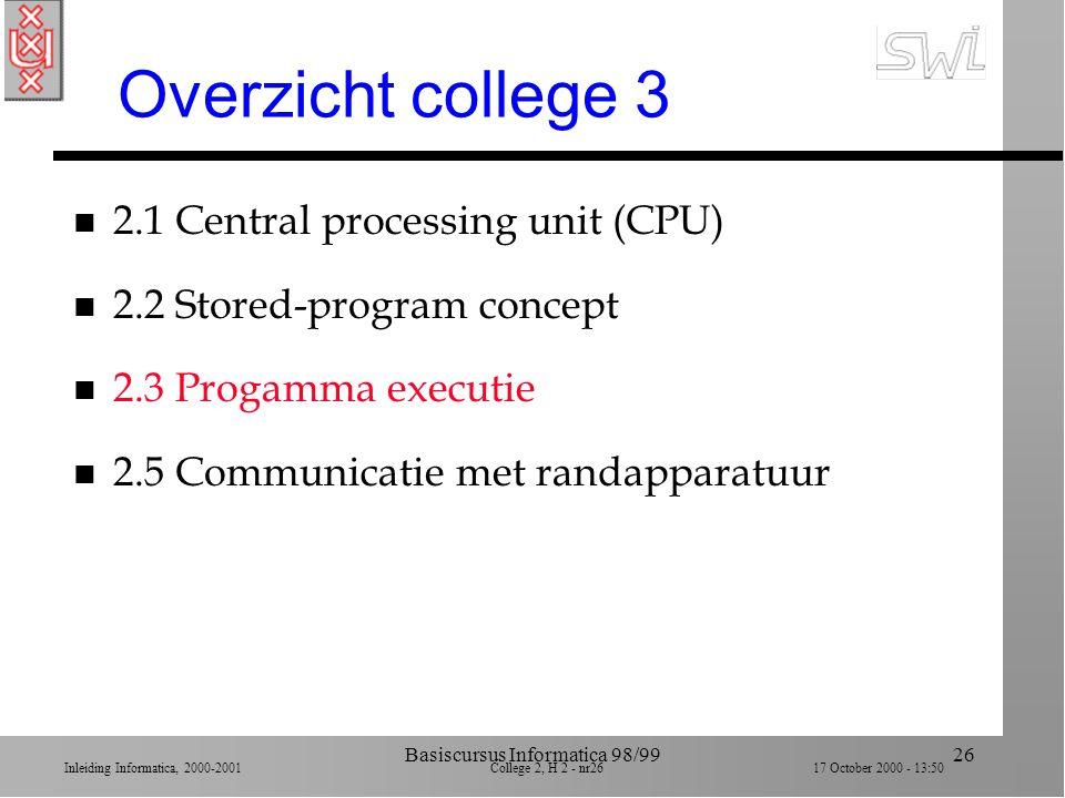 Inleiding Informatica, 2000-2001 College 2, H 2 - nr25 17 October 2000 - 13:50 Basiscursus Informatica 98/9925 Voorbeeld programma n Stap 1. Haal waar