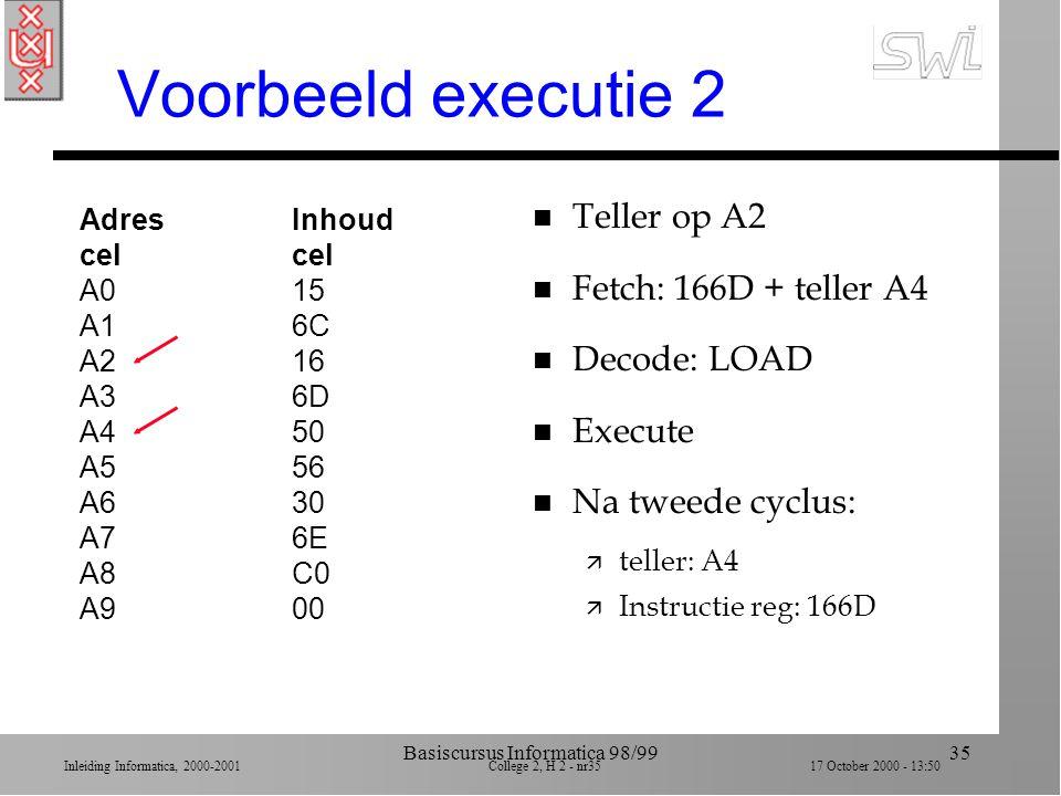 Inleiding Informatica, 2000-2001 College 2, H 2 - nr34 17 October 2000 - 13:50 Basiscursus Informatica 98/9934 Voorbeeld executie 1 AdresInhoudcel A015 A16C A216 A36D A450 A556 A630 A76E A8C0 A900 n Begin: teller op A0 n Fetch: 156C + teller A2 n Decode: LOAD n Execute n Na eerste cyclus: ä teller: A2 ä Instructie reg: 156C