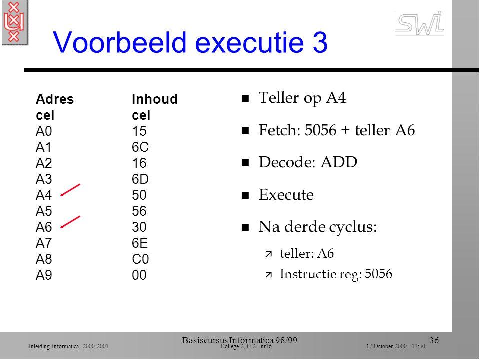 Inleiding Informatica, 2000-2001 College 2, H 2 - nr35 17 October 2000 - 13:50 Basiscursus Informatica 98/9935 Voorbeeld executie 2 AdresInhoudcel A01