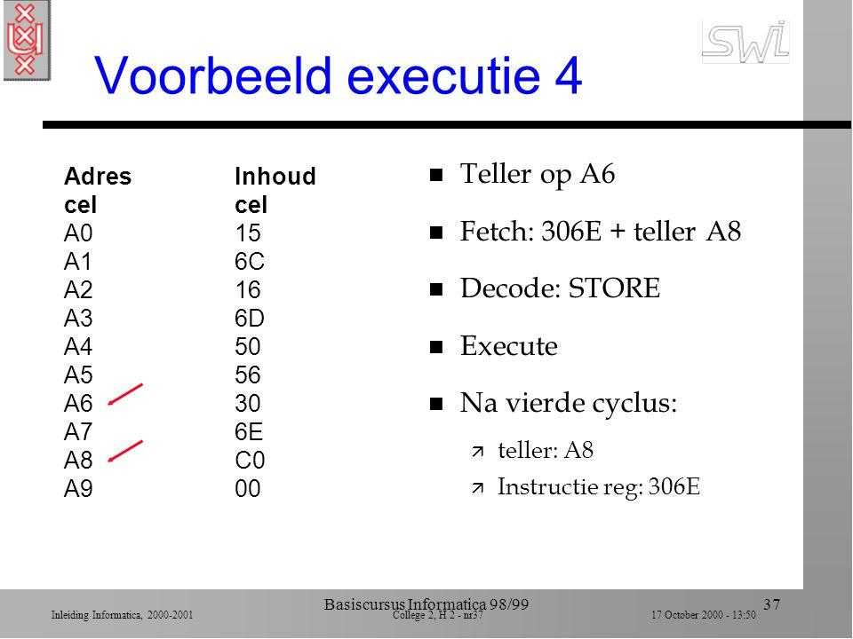 Inleiding Informatica, 2000-2001 College 2, H 2 - nr36 17 October 2000 - 13:50 Basiscursus Informatica 98/9936 Voorbeeld executie 3 AdresInhoudcel A01