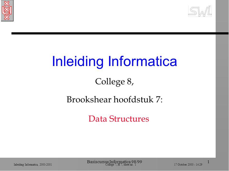 Inleiding Informatica, 2000-2001 College 7, H 7, sheet nr. 117 October 2000 - 14:29 Basiscursus Informatica 98/991 Inleiding Informatica College 8, Br