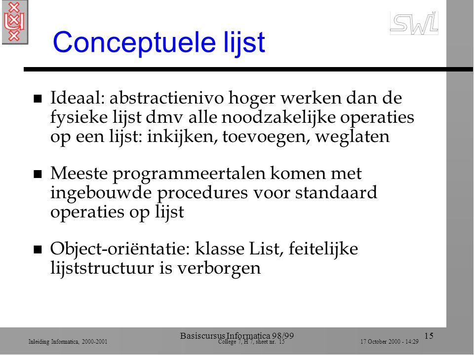 Inleiding Informatica, 2000-2001 College 7, H 7, sheet nr. 1517 October 2000 - 14:29 Basiscursus Informatica 98/9915 Conceptuele lijst n Ideaal: abstr