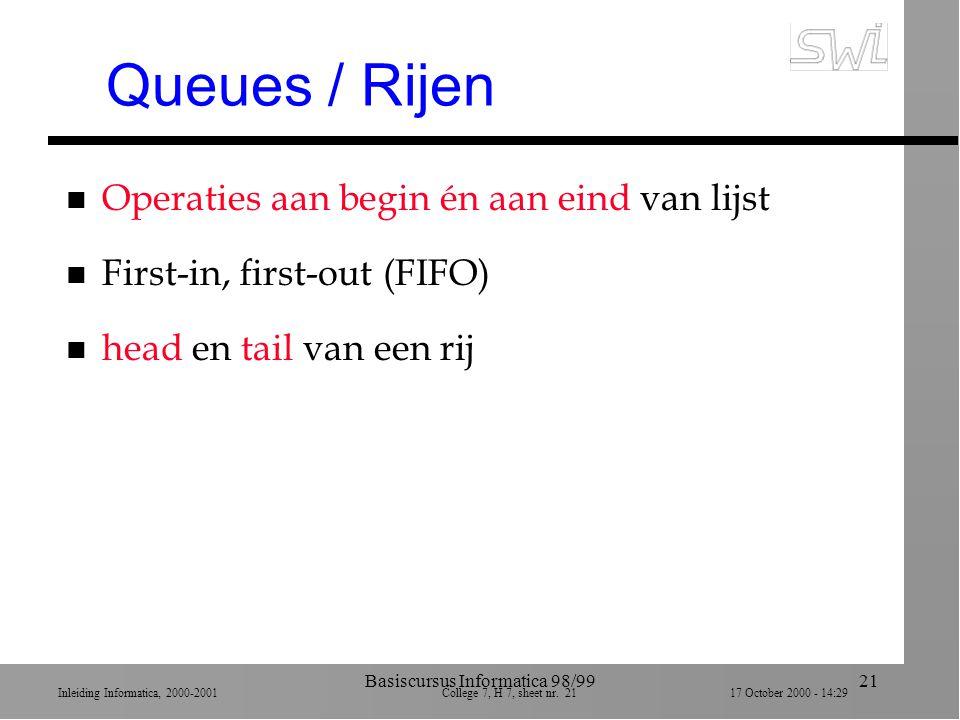Inleiding Informatica, 2000-2001 College 7, H 7, sheet nr. 2117 October 2000 - 14:29 Basiscursus Informatica 98/9921 Queues / Rijen n Operaties aan be