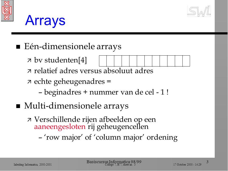 Inleiding Informatica, 2000-2001 College 7, H 7, sheet nr. 317 October 2000 - 14:29 Basiscursus Informatica 98/993 Arrays n Eén-dimensionele arrays ä