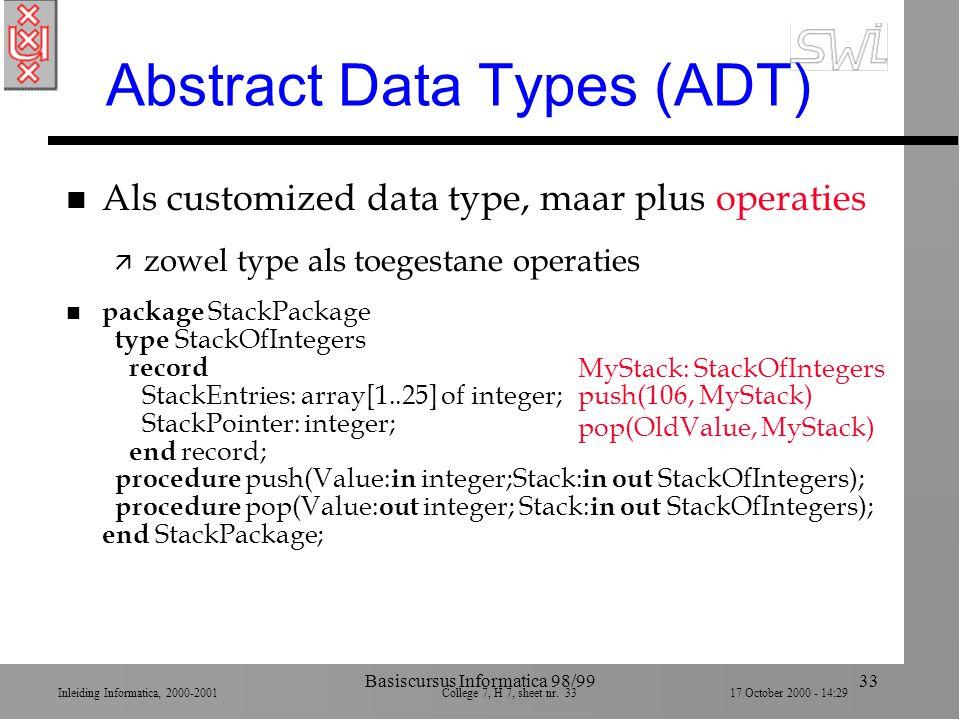 Inleiding Informatica, 2000-2001 College 7, H 7, sheet nr. 3317 October 2000 - 14:29 Basiscursus Informatica 98/9933 Abstract Data Types (ADT) n Als c