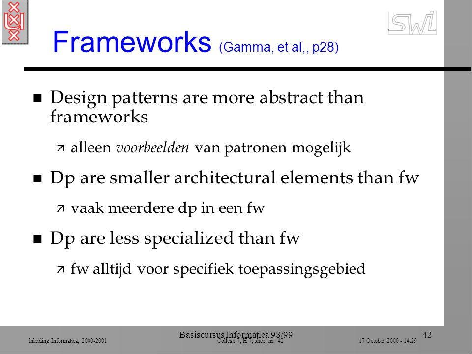 Inleiding Informatica, 2000-2001 College 7, H 7, sheet nr. 4217 October 2000 - 14:29 Basiscursus Informatica 98/9942 Frameworks (Gamma, et al,, p28) n