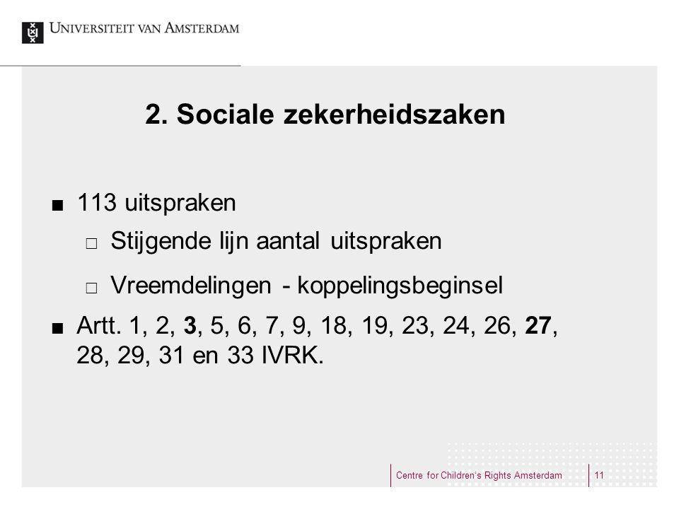 2. Sociale zekerheidszaken 113 uitspraken  Stijgende lijn aantal uitspraken  Vreemdelingen - koppelingsbeginsel Artt. 1, 2, 3, 5, 6, 7, 9, 18, 19, 2