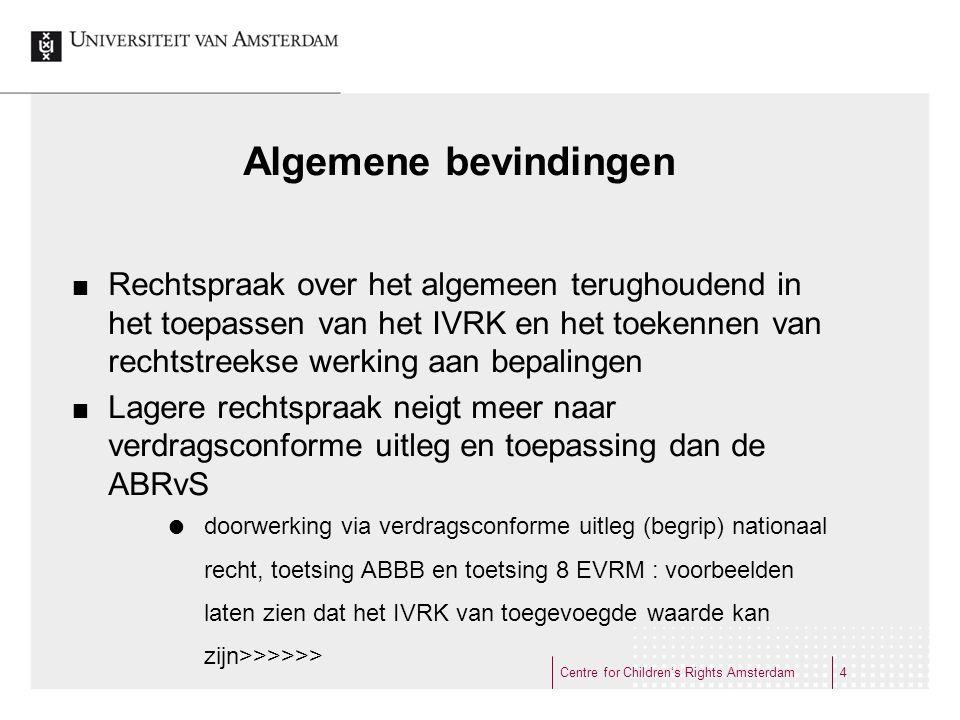 'mede in het licht van het IVRK' CRvB betrekt 'het IVRK' bij toetsing aan artikel 8 EVRM (14 EVRM):  CRvB 20 oktober 2010, LJN BO3581 (minderjarige vreemdeling - verstandelijk gehandicapt kind met gedragsproblemen - recht op AWBZ-zorg)  CRvB 15 juli 2011, LJN BR1950 (ouders zonder verblijftitel recht op kinderbijslag) Centre for Children's Rights Amsterdam15
