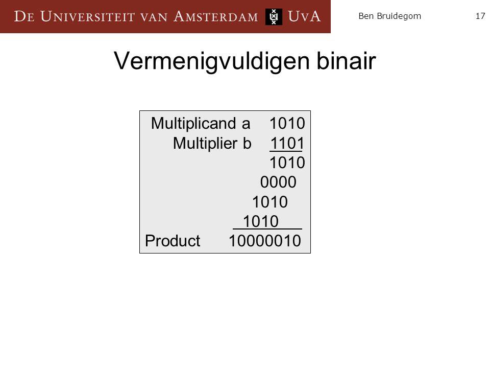 17Ben Bruidegom Vermenigvuldigen binair Multiplicand a 1010 Multiplier b 1101 1010 0000 1010 Product 10000010