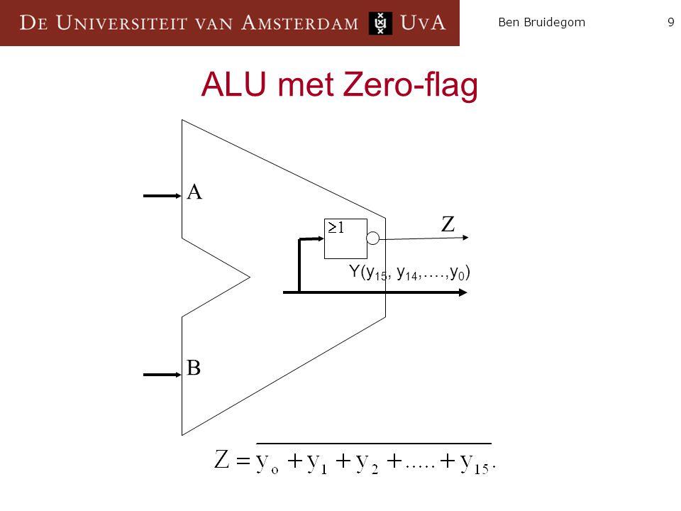 9Ben Bruidegom ALU met Zero-flag A B 11 Z Y(y 15, y 14,….,y 0 )