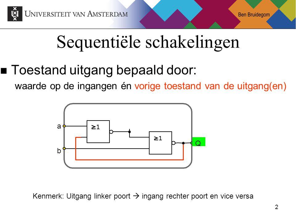 2Ben Bruidegom 2 Sequentiële schakelingen Toestand uitgang bepaald door: waarde op de ingangen én vorige toestand van de uitgang(en) a Q b Kenmerk: Uitgang linker poort  ingang rechter poort en vice versa