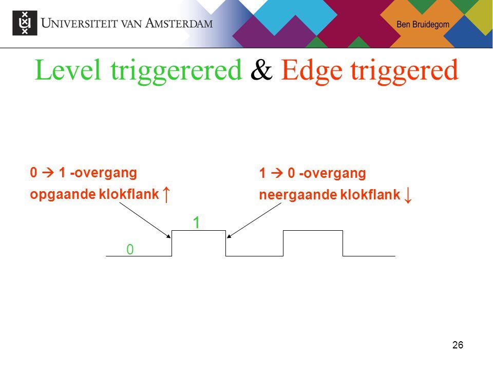26Ben Bruidegom 26 Level triggerered & Edge triggered 0 1  0 -overgang neergaande klokflank ↓ 0  1 -overgang opgaande klokflank ↑ 1