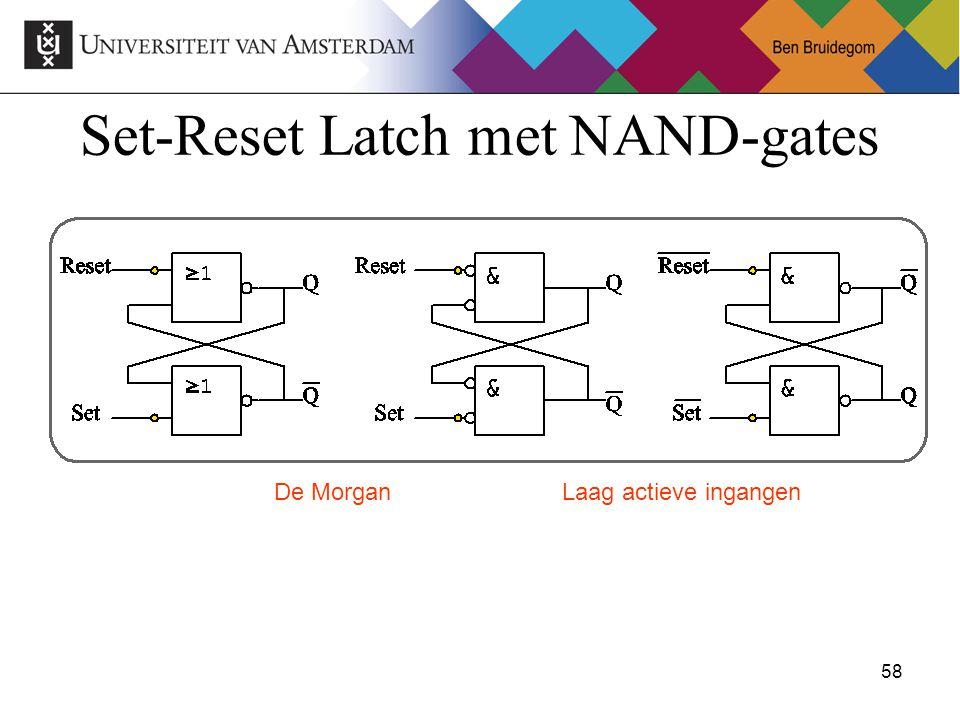 58Ben Bruidegom 58 Set-Reset Latch met NAND-gates De MorganLaag actieve ingangen