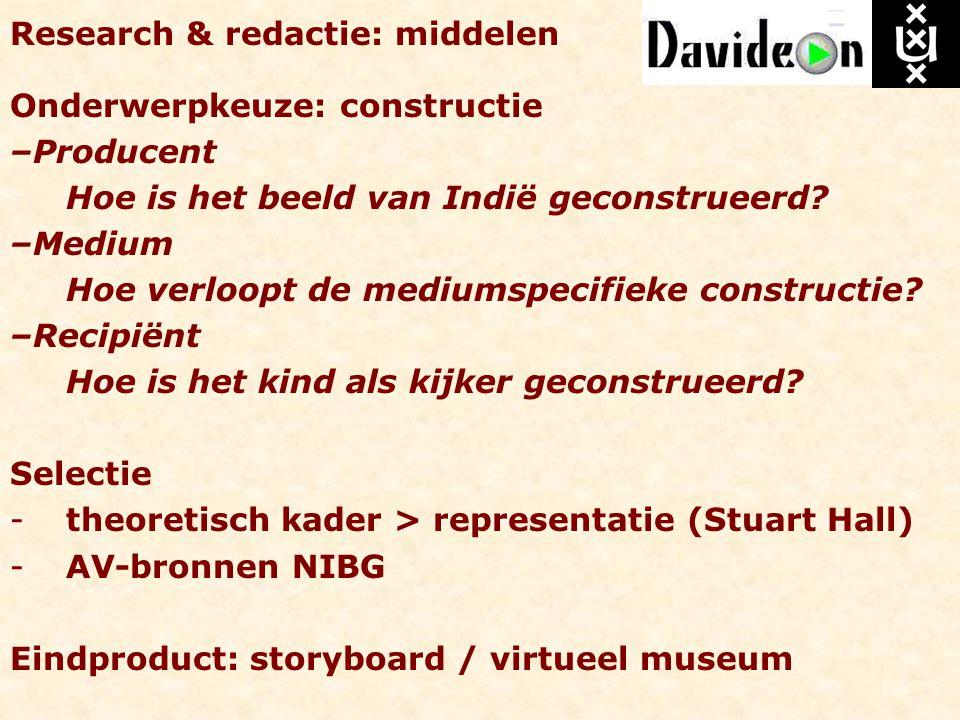 Research & redactie: middelen Onderwerpkeuze: constructie –Producent Hoe is het beeld van Indië geconstrueerd? –Medium Hoe verloopt de mediumspecifiek