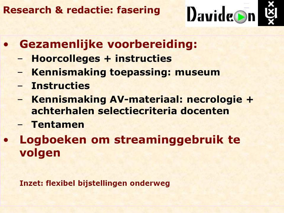 Research & redactie: fasering Gezamenlijke voorbereiding: –Hoorcolleges + instructies –Kennismaking toepassing: museum –Instructies –Kennismaking AV-m