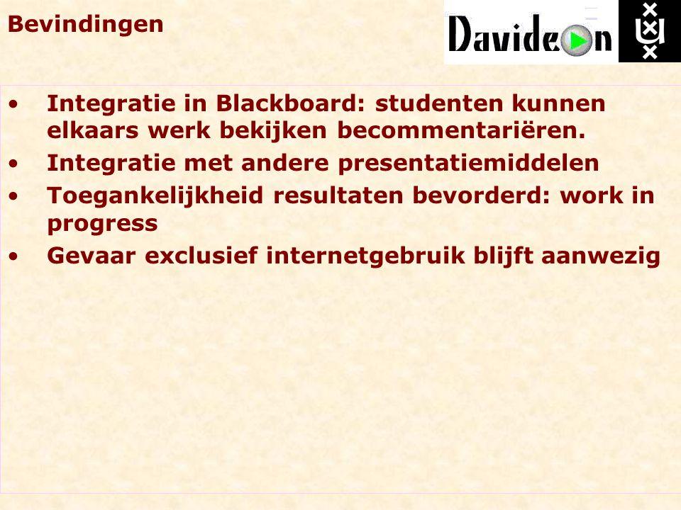 Bevindingen Integratie in Blackboard: studenten kunnen elkaars werk bekijken becommentariëren. Integratie met andere presentatiemiddelen Toegankelijkh