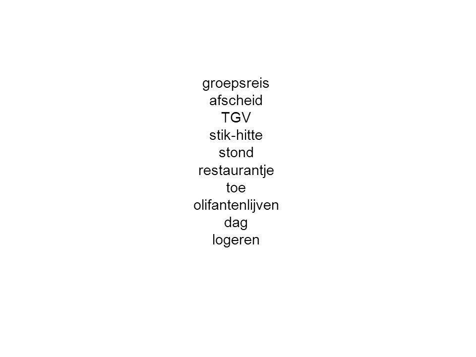 groepsreis afscheid TGV stik-hitte stond restaurantje toe olifantenlijven dag logeren