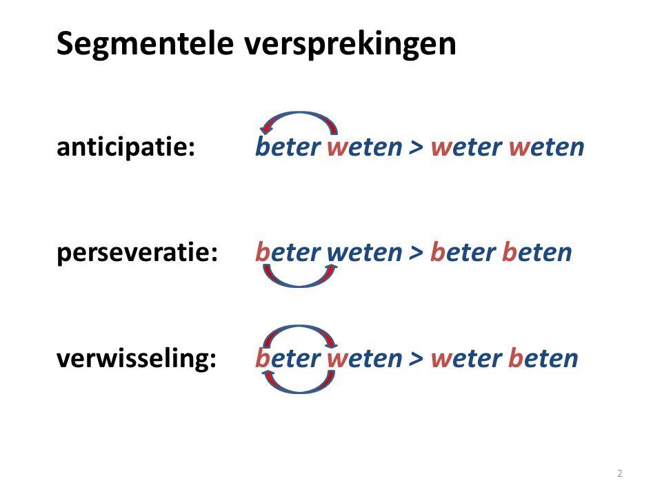 Segmentele versprekingen anticipatie: beter weten > weter weten perseveratie: beter weten > beter beten verwisseling: beter weten > weter beten 2