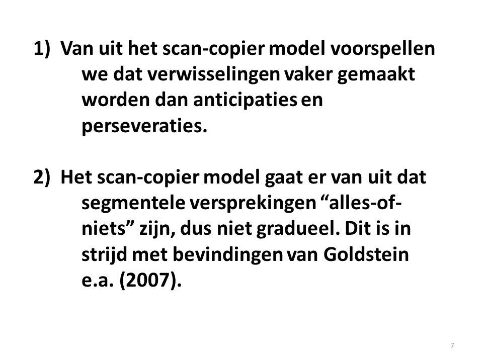 7 1)Van uit het scan-copier model voorspellen we dat verwisselingen vaker gemaakt worden dan anticipaties en perseveraties. 2)Het scan-copier model ga