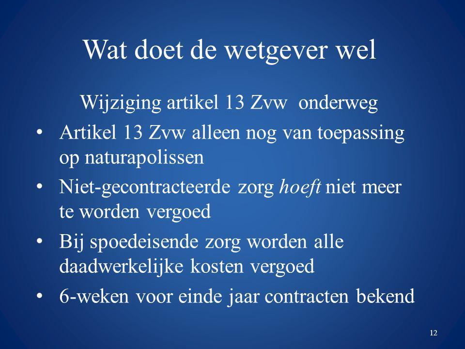 Wat doet de wetgever wel Wijziging artikel 13 Zvw onderweg Artikel 13 Zvw alleen nog van toepassing op naturapolissen Niet-gecontracteerde zorg hoeft