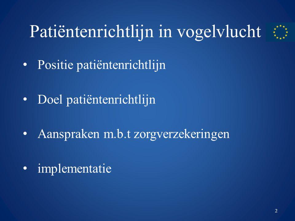 Patiëntenrichtlijn in vogelvlucht Positie patiëntenrichtlijn Doel patiëntenrichtlijn Aanspraken m.b.t zorgverzekeringen implementatie 2