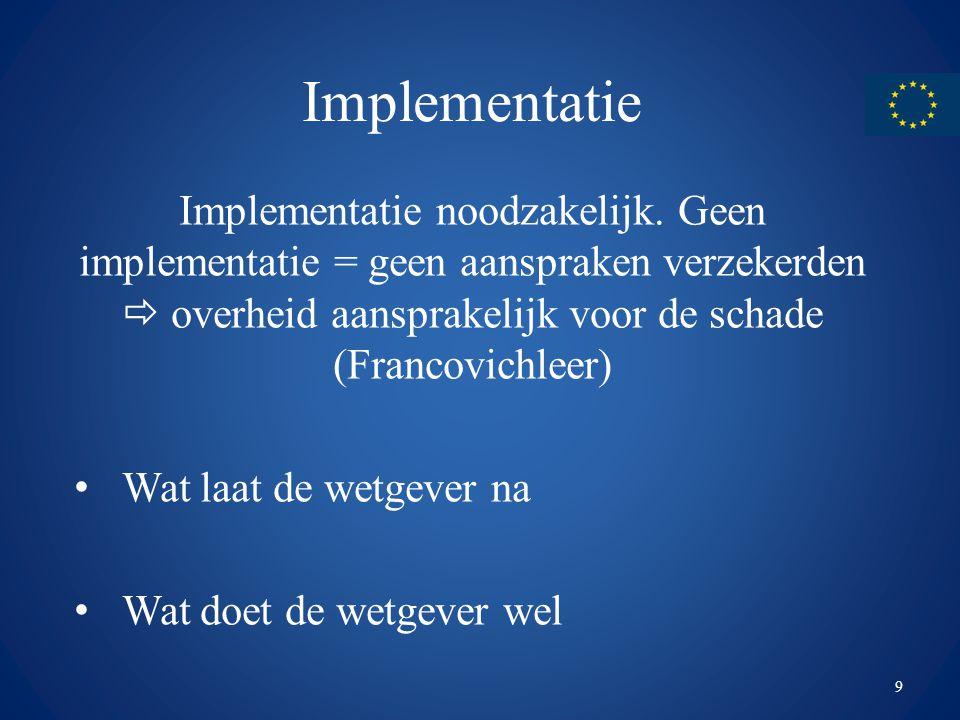 Implementatie Implementatie noodzakelijk. Geen implementatie = geen aanspraken verzekerden  overheid aansprakelijk voor de schade (Francovichleer) Wa