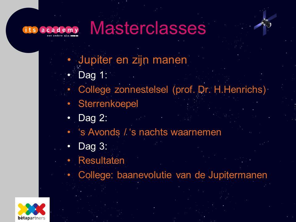 Masterclasses Jupiter en zijn manen Dag 1: College zonnestelsel (prof. Dr. H.Henrichs) Sterrenkoepel Dag 2: 's Avonds / 's nachts waarnemen Dag 3: Res