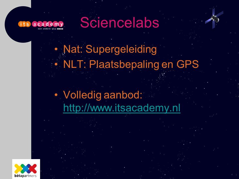 Sciencelabs Nat: Supergeleiding NLT: Plaatsbepaling en GPS Volledig aanbod: http://www.itsacademy.nl http://www.itsacademy.nl
