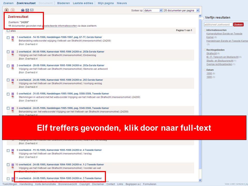 9 Elf treffers gevonden, klik door naar full-text