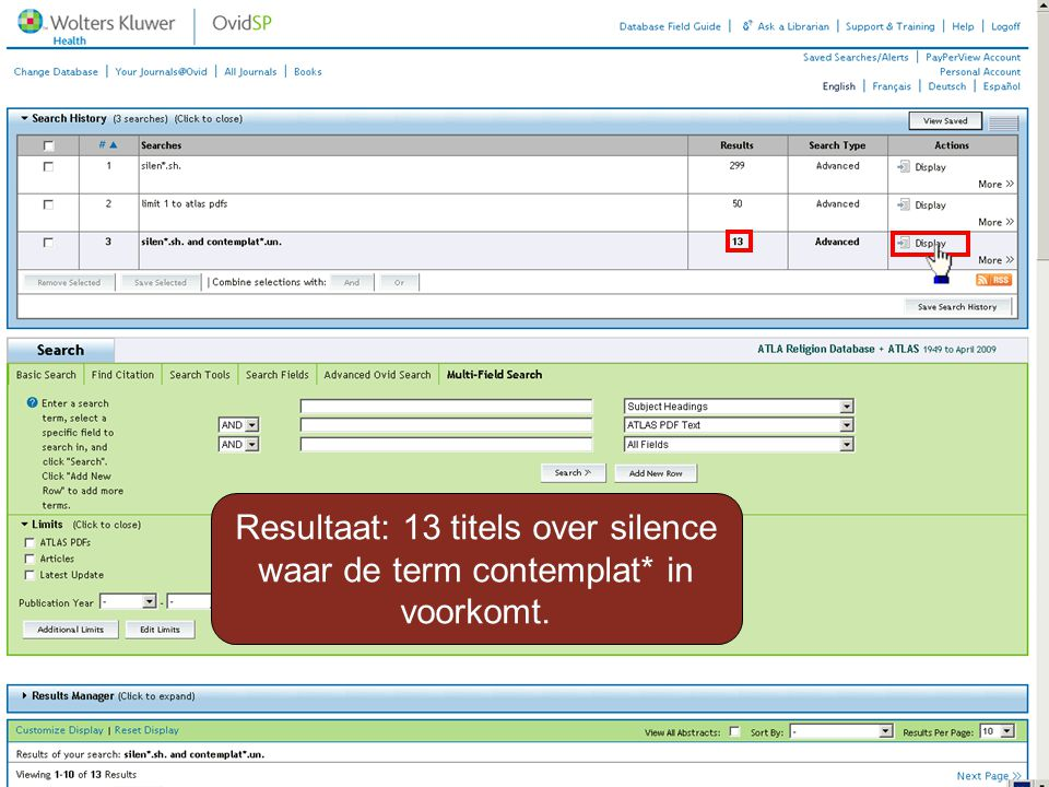 Resultaat: 13 titels over silence waar de term contemplat* in voorkomt.