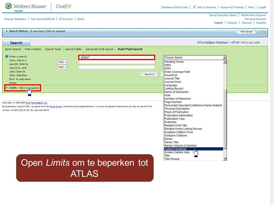 silen* Open Limits om te beperken tot ATLAS