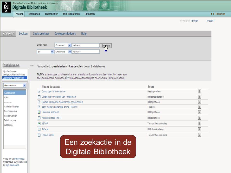 Een zoekactie in de Digitale Bibliotheek