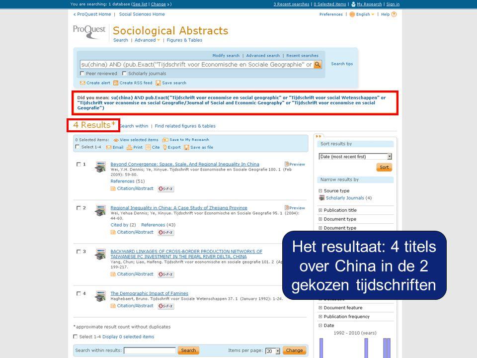 Het resultaat: 4 titels over China in de 2 gekozen tijdschriften