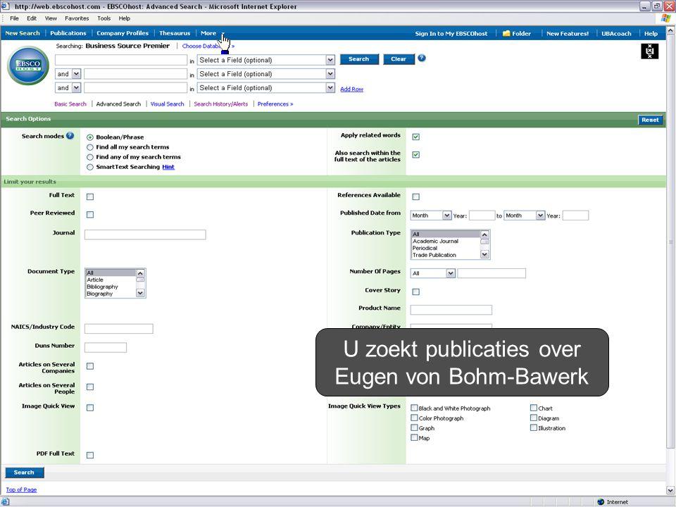U zoekt publicaties over Eugen von Bohm-Bawerk