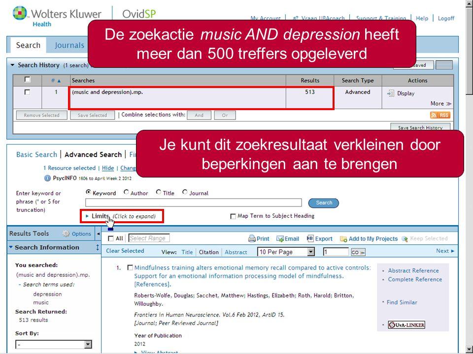 De zoekactie music AND depression heeft meer dan 500 treffers opgeleverd Je kunt dit zoekresultaat verkleinen door beperkingen aan te brengen