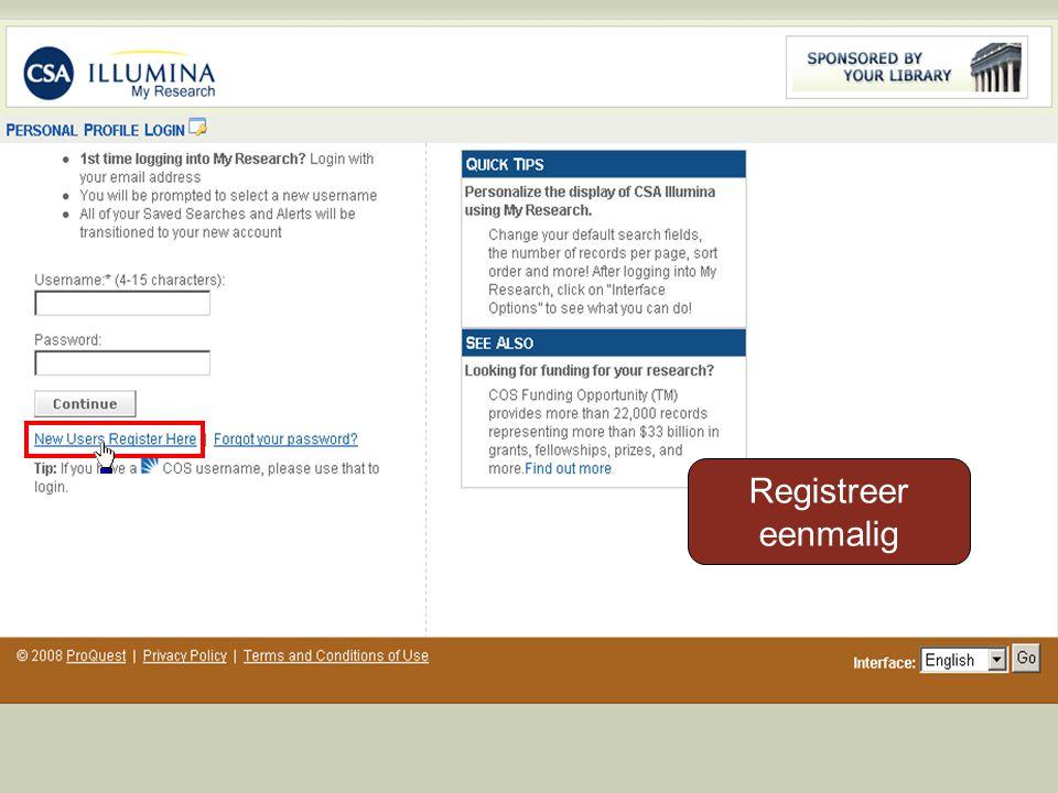 Registreer eenmalig