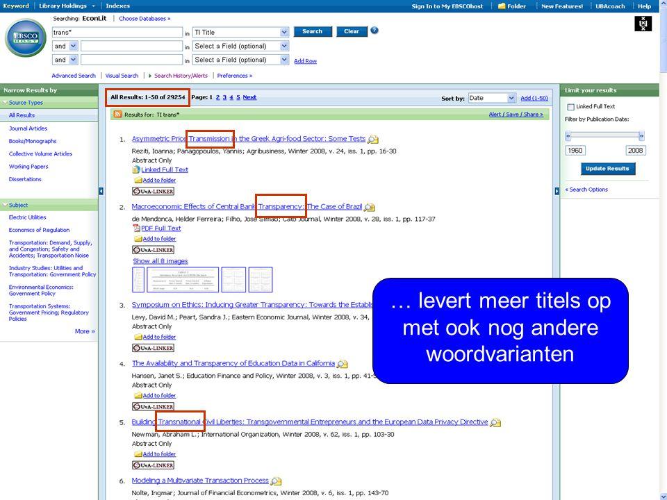 … levert meer titels op met ook nog andere woordvarianten