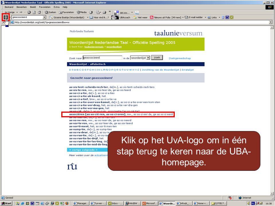 Klik op het UvA-logo om in één stap terug te keren naar de UBA- homepage.