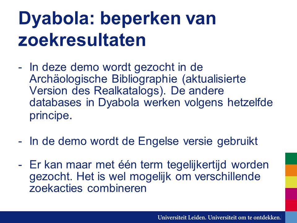 Dyabola: beperken van zoekresultaten -In deze demo wordt gezocht in de Archäologische Bibliographie (aktualisierte Version des Realkatalogs).