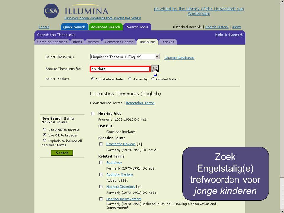 children Zoek Engelstalig(e) trefwoorden voor jonge kinderen